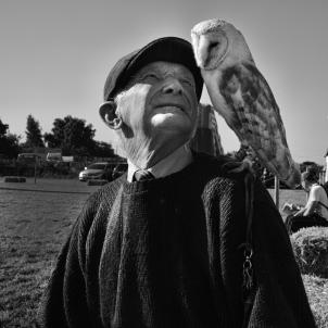 Man with an owl. Nottinghamshire 2015 ©PDBarton