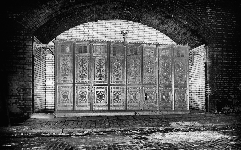 Victorian cast iron men's urinals under railway​ arches. Central Birmingham. Late 1970's